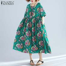 Bohemian Printed Maxi Dress Women's Summer Sundress ZANZEA 2020 Casual Short Sle
