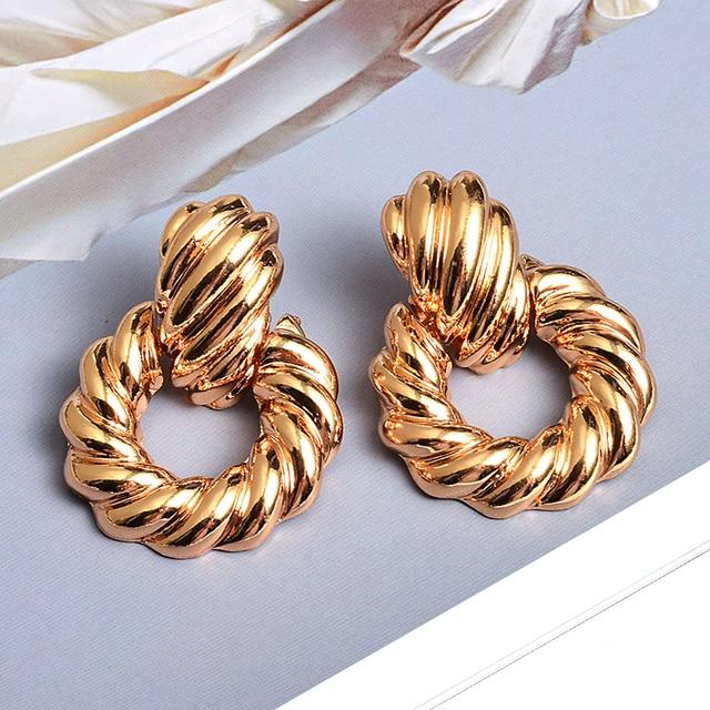 Gold Metal Drop Earrings  3