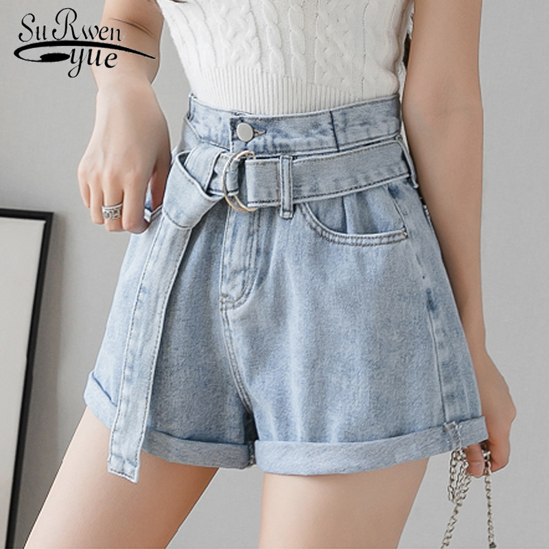 2020 New Jeans For Women Korean Women's Denim Shorts Vintage High Waist Blue Wide Leg Female Caual Summer Ladies Shorts 8941 50