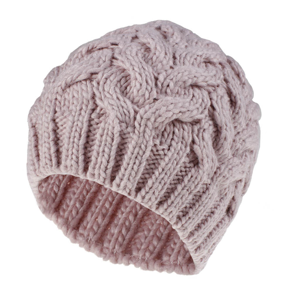 Warm Knit Hat High Quality Winter Hats For Women Beanie Hat Coarse Wool Lint Flower Caps Fashion Leisure Skullies & Beanies Ski