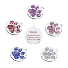 Anti-lost Personalized Dog Tags Free Engraved Cat Puppy Pet ID Name Collar Tag Pendant Pet Accessories Customized/Paw Glitter flowgogo anti lost stainless steel dog id tag engraved pet cat puppy dog collar accessories telephone name tags pet id tags