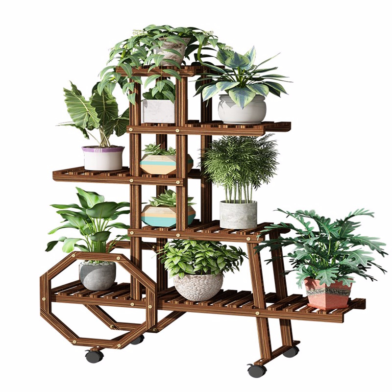 Balcony Shelf Room Domestic And Foreign  Solid Wood Quality Multi-storey Belt Round Chlorophytum Landing Type