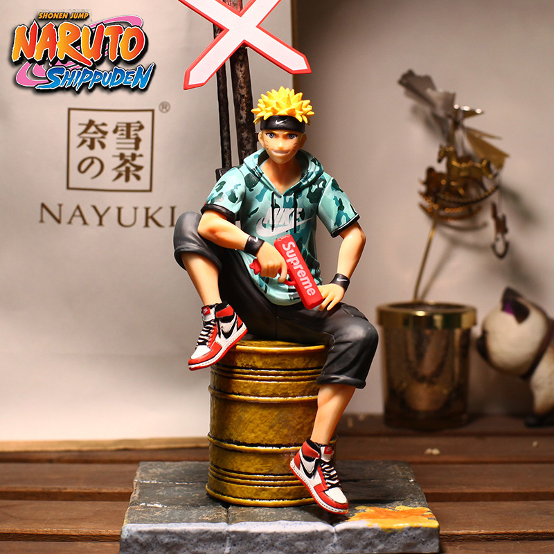Free shipping Anime NARUTO Uzumaki Naruto Fashion Suit Sitting Ver. PVC Action Figure Collection Model Doll Toys B19