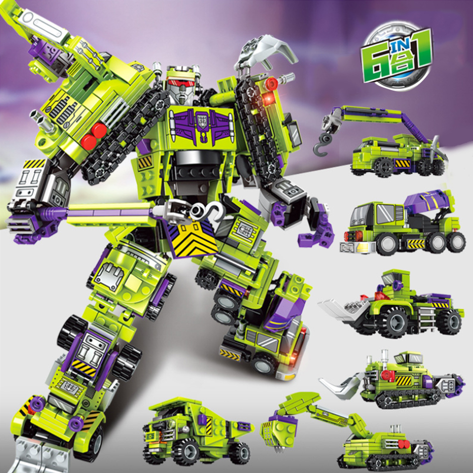 709PCS 6in1 City Engineering Vehicles Boy's Deformed Robot Building Blocks Kit Compatible Legoed Educational DIY Kids Toys