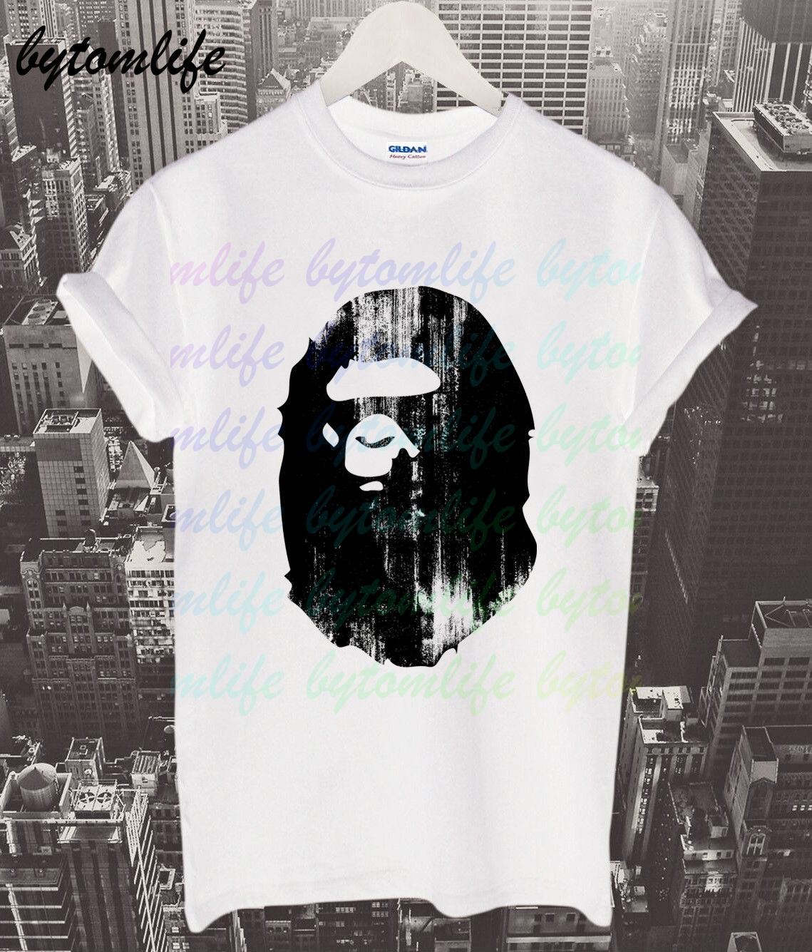 A Bathing T-shirt Summer Print Ape White Black T Shirt Clothes Popular Shirt Cotton Tees Amazing Short Sleeve Unique Men Tops