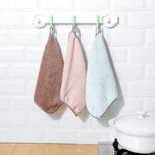 Wholesale 200 PCS Solid Coral Fleece Double-Sided Absorbent Rag Thickened Lint-Free Oil-Free Dish Towel Kitchen Dish Cloth F0003 coral velvet bathroom supplies soft hand towel absorbent cloth dishcloths hanging lint free cloth kitchen accessories