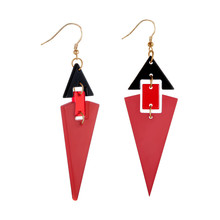 NJ Red Green Triangle Hang Earrings Drop Dangle For Women Exaggerated Style Womens Hanging Jewelry Gift