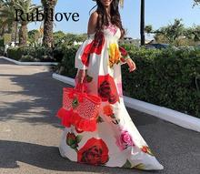 Rubilove Print Big Red Floral Flower Long  Floor-Length Maxi Dress Women 2019 Sexy Strapless Summer Beach Boho Bohemian Su