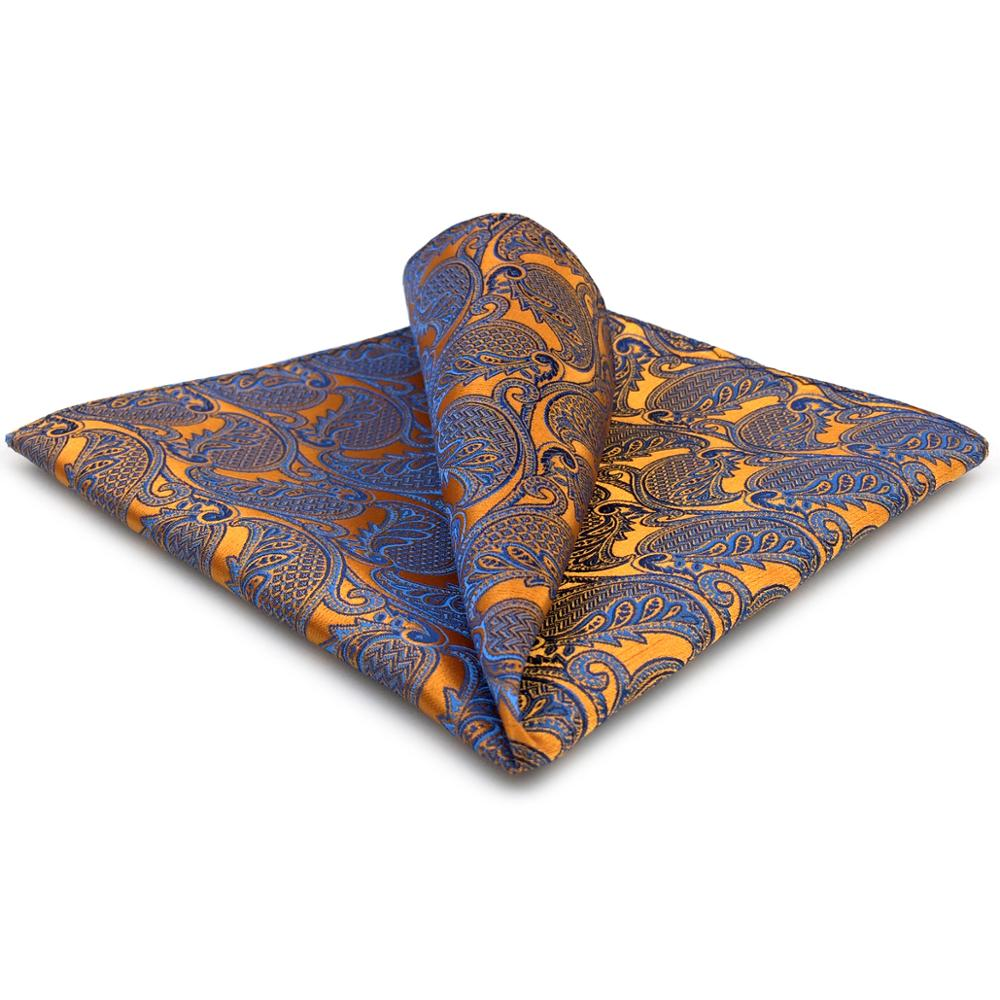 Paisley Handkerchief Pocket Square Orange Blue Silk Large 12.6