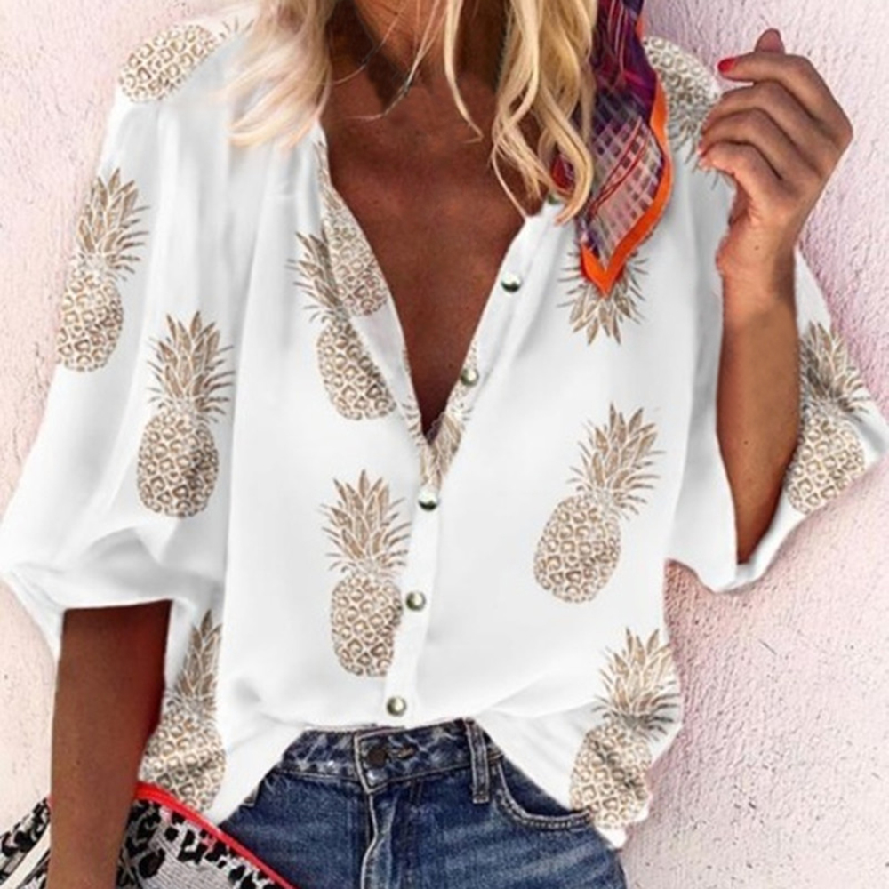 Fashion Womens Tops And Blouses Pineapple Print Casual Long Sleeve White  Shirt Ladies Chemise Femme Blusa Feminina Streetwear