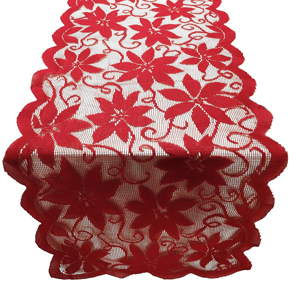 Christmas Red Poinsettia Lace Fabric Tablecloth Christmas Table Hanging weddings Decor Party Christmas Tree Decoration 19Oct2