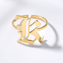 Alphabet Initial A-Z Letter Stainless Steell Ring Silver Gold Rings Adjustable Opening Wedding Band For Women Charm Jewelry Anel vintage adjustable a z letter metal ring female jewelry gothic charm gold ring fashion opening wedding band rings for women girl