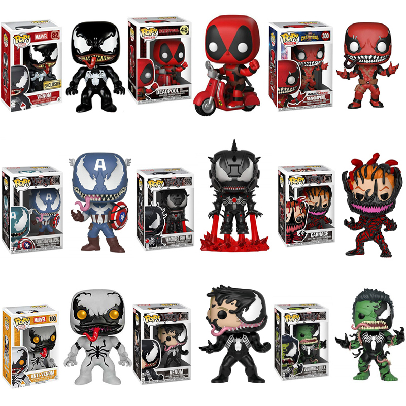 Funko POP Modelo Avengers MARVEL Homem De Ferro Capitão América VENOM 4 Deadpool Figura Collectible Toy Modelo para o Presente Dos Miúdos