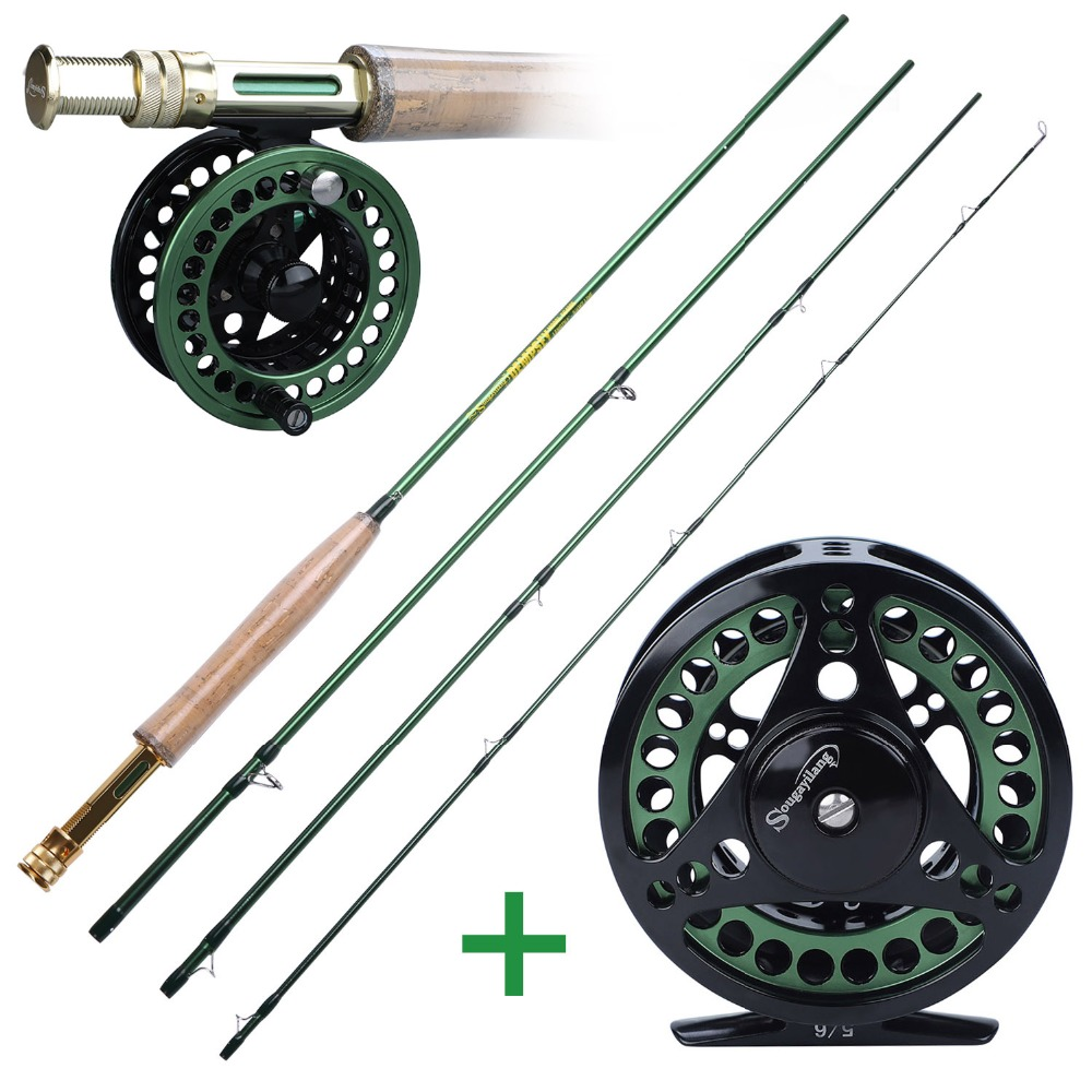 Sougayialng 4 Section Fly Fishing Rod Set  #5/6  Carbon Fiber Ultralight Weight Fly Fishing Rod And Fly Reel Combo Tackles