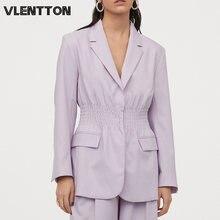 Женский винтажный Блейзер фиолетовый однотонный пиджак с карманами