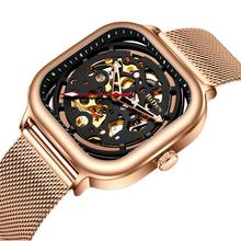 2019 Top Brand Luxury Clock Fashion Mens watches Mechanical Watch Rose gold Mesh Strap Hollow Skeleton Dial Watches for men все цены