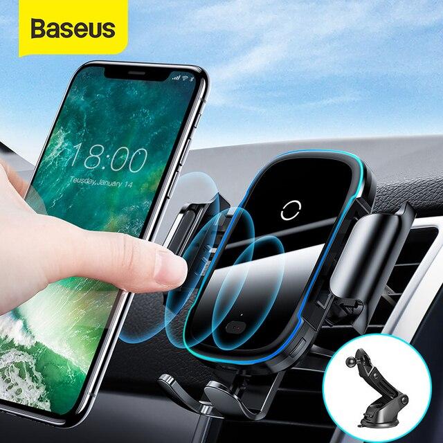 Baseus Draadloze Autolader Voor Iphone Xs Max Xr X 8Plus Licht Elektrische 2 In 1 Draadloze Oplader 15W Auto Houder Voor Huawei P30Pro
