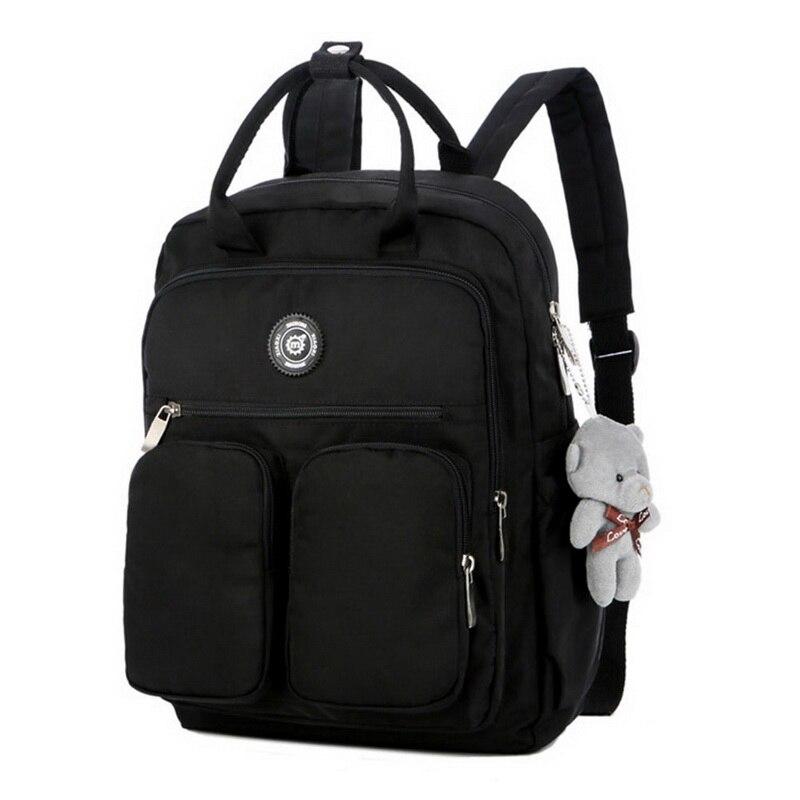 Litthing Drop shipping 2019 Fashion Woman Backpack Waterproof Nylon Soft Handle Solid Multi pocket Travel Zipper School Bags|Backpacks| - AliExpress