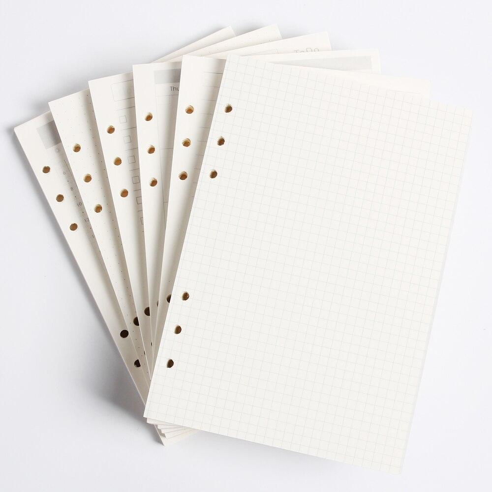 Klasik 6 delik ciltli defter iç kağıt çekirdek/dolum iç kağitlari: hattı, ızgara, nokta, listesi, günlük haftalık aylık planlayıcısı A5 A6
