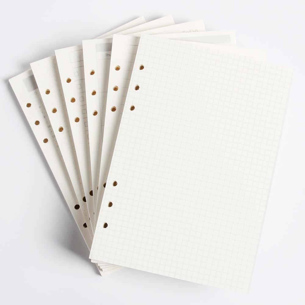 Núcleo de papel interno clássico do caderno da pasta de 6 furos/papéis internos do reenchimento: linha, grade, pontos, lista, planejador mensal semanal diário a5 a6