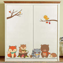 Card Dream Y1580 Fox Bear Squirrel Forest Animal Cartoon Wall Stickers CHILDREN'S Room Decoration Waterproof Adhesive Paper Cust(China)