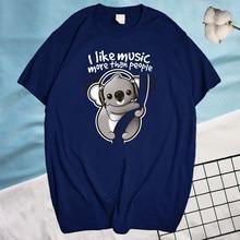 Engraçado bonito coala t-shirts coala gosta de música mais do que pessoas t camisa homem piada koala dj abraços árvore verde camiseta hip hop camiseta