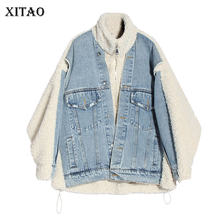 XITAO Tide Patchwork Denim Pocket Jacket Women Clothes 2019 Fashion Plus Size Thick Personality Turn Down Collar New DMY1725(China)