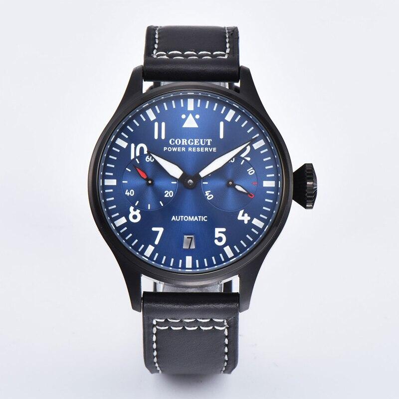 42MM Corgeut brand Clocks Automatic mens Mechanical Watches Luxury Sport blue Dial power reserve luminous date Male Wrist watch