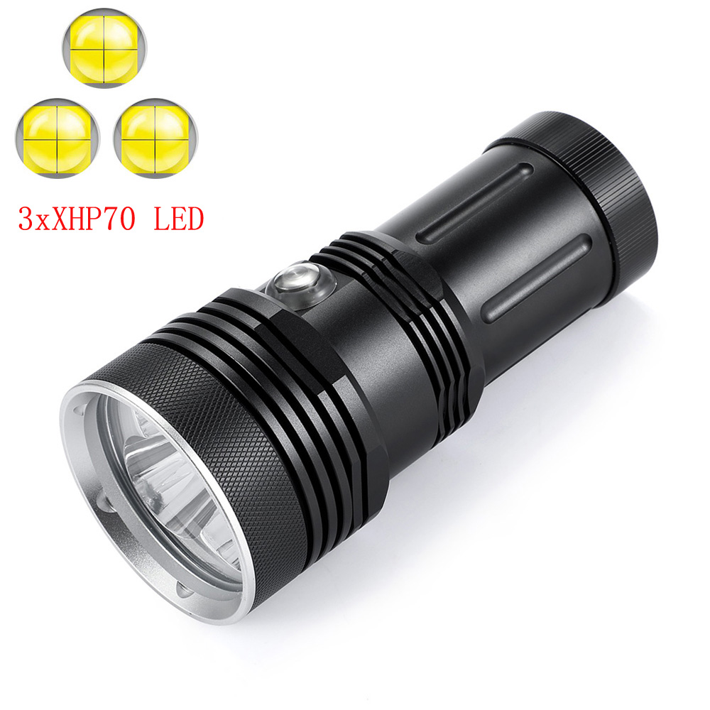 New 3xXHP70.2 Professional Diving Flashlight High Lumen Waterproof 200M Underwater LED Dive Torch Light For Outdoor Sports