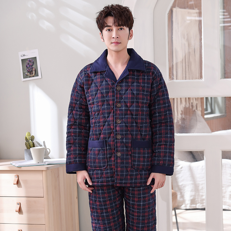 New Winter Fashion Plaid Quilted Pajama Sets Soft Men Sleepwear Winter Lounge Set Three Layer Padded Cotton Thick Quilted Jacket