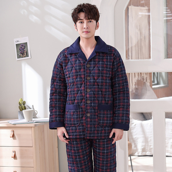 New Winter Fashion Plaid Quilted Pajama Sets Soft Men Sleepwear Winter Lounge Set Three Layer Padded Cotton Thick Quilted Jacket фото