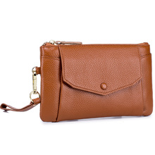 купить New First Layer Leather Coin Purse Women Long Wallet Change Travel Zipper Purses Cowhide Fashion Key Holder Hasp Phone Pouch по цене 1172.36 рублей