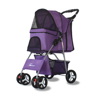 Outdoor Pet Cart Dog Cat Carrier Pet Stroller Multicolor Oxford Cloth Steel Pipe High intensity 4 wheels One key Folding