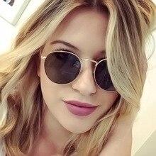 Round Sunglasses Mirror Frame Classic Vintage Women/men Brand Designer Alloy Oculos Modis