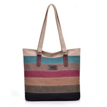 Women Canvas Stripe Eco Handbag Waterproof Panelled Reusable Shopping Travel Tote Bag Classic Daily Life Shoulder Sling Bag H011