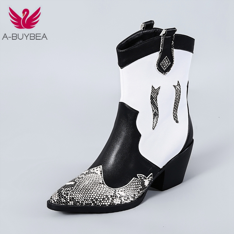 Classic Mixed Colors PU Leather Cowboy Ankle Boots Women Wedge High Heel Booties Snake Print Western Cowgirl Boot 2019 Female in Ankle Boots from Shoes