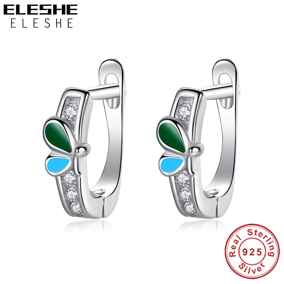 ELESHE 100% 925 Sterling Silver Earrings With Crystal Enamel Cute Spring Dragonfly Insect Earrings For Girls Kids Jewelry Gift