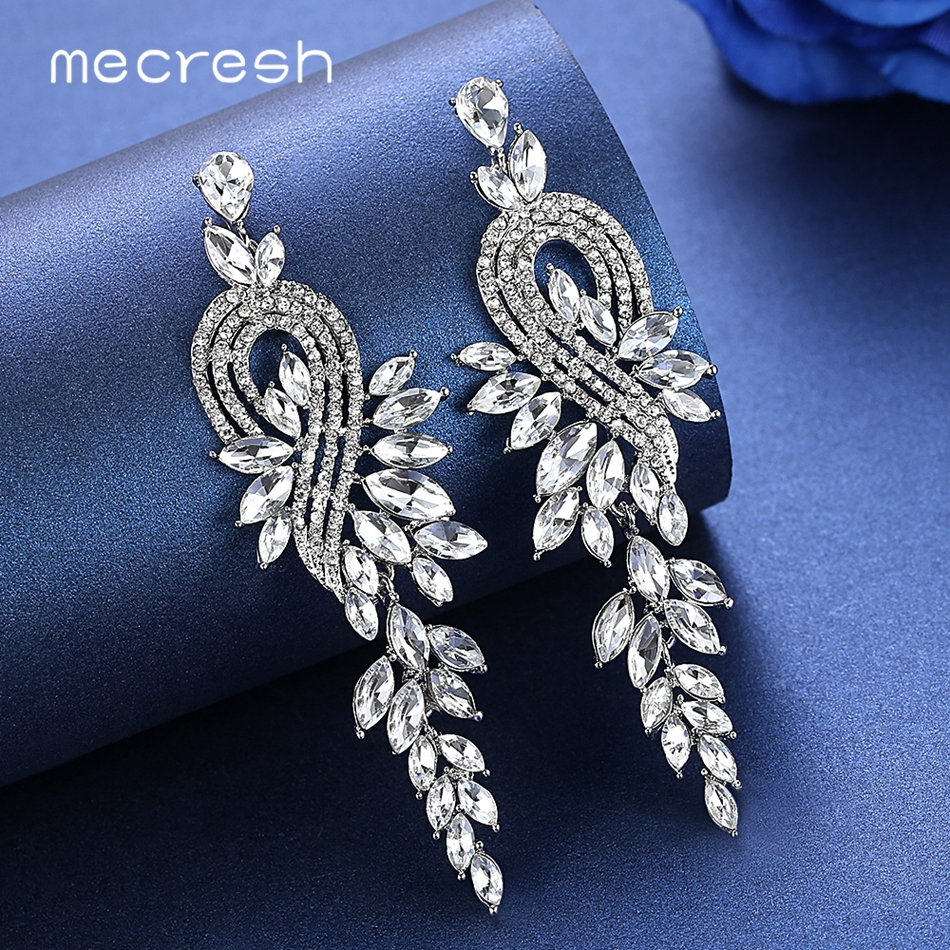 Mecresh European Leaves Long Drop Earrings for Women Silver Color Crystal Hanging Earrings Wedding Engagement Jewelry MEH946