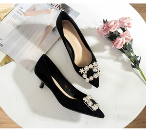 Image 3 - 2020 Shoes Woman 3.5cm High Heels Women Crystal Buckle Rhinestone Flock Point Toe Party Sandals Office Lady Dress Pump Plus Size