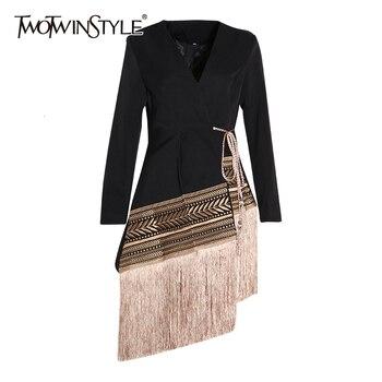TWOTWINSTYLE – Veste col V à manches longues pour femme, couleurs en contraste, coupe ample et se ferme grâce à une petit corde finition gland, épissé, manteau à la mode, nouveau, automne hiver 2020 1