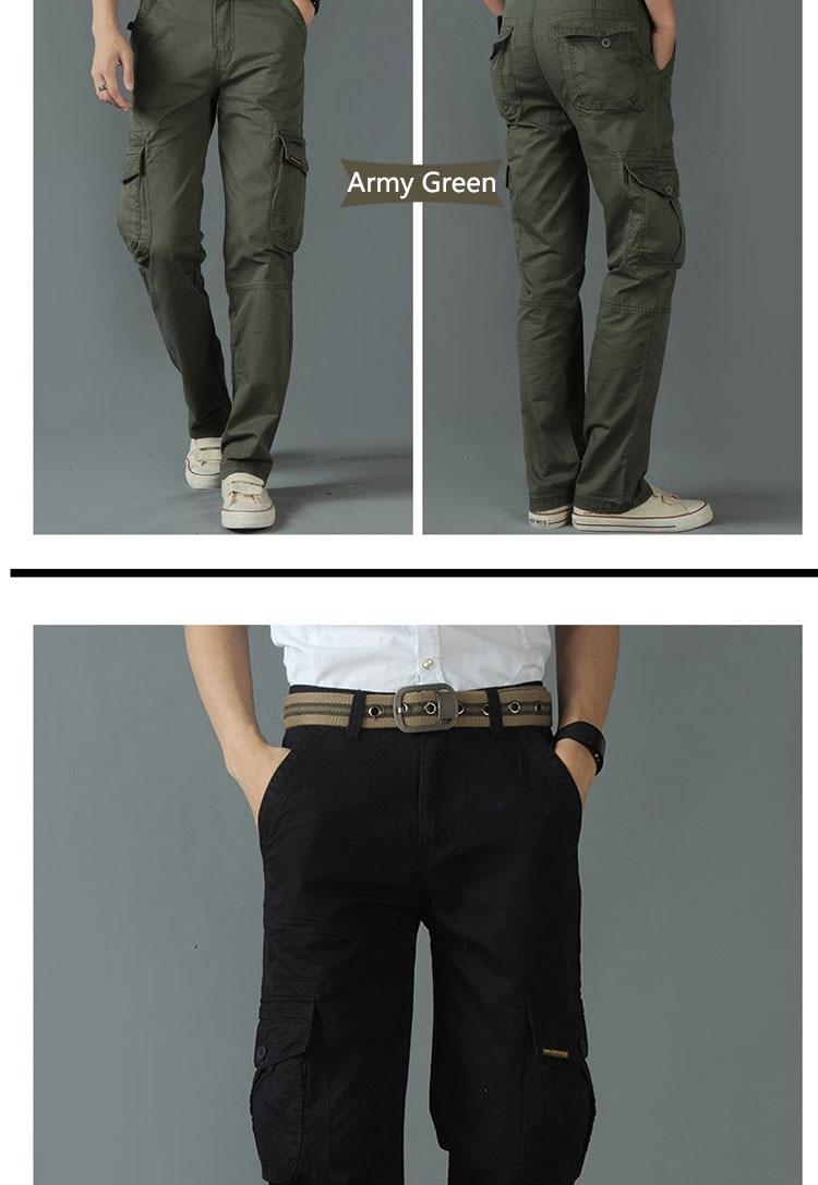 KSTUN New Men's Cargo Pants Casual Overalls 100% Cotton Straight Cut Male City Military Tactical Pants Men Loose Fit Trousers No Belt 20