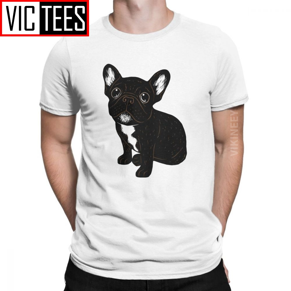 Men Cute Brindle Frenchie Puppy French Bulldog Dog T Shirt 100 Percent Cotton Clothes Oversized T-Shirt
