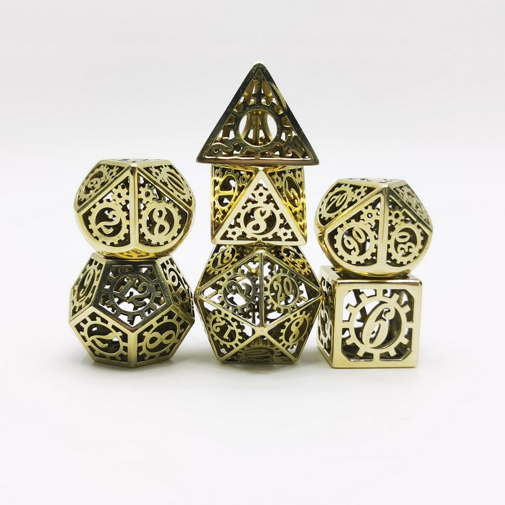 HYMGHO Handcrafted Arrival Hollow Dice Metal Steel Bronze Steampunk Pattern With Wheel Gear DND Pathfinder Tabletop Gaming Roll