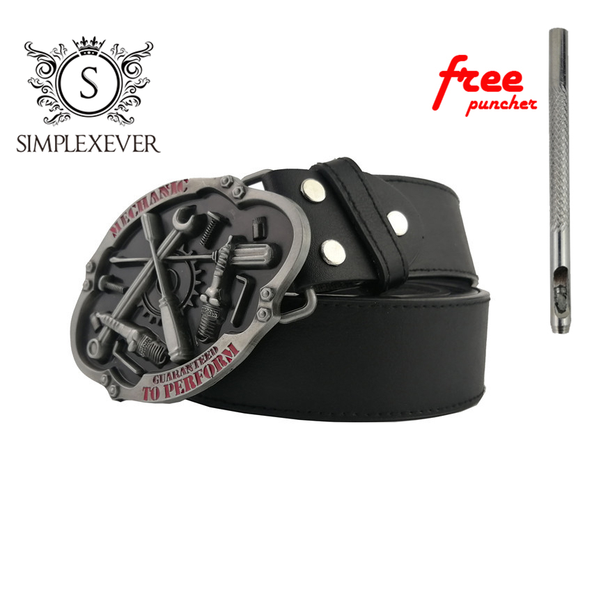 PU Belts With MECHANIC Metal Belt Buckle Men's Belt Buckles Head Suitable For 4cm Wide Belt Free Puncher