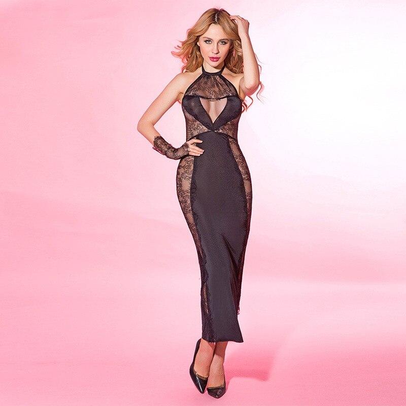 Sexy Dress Women Party Night Long Black Transparent 2019 Evening Dresses Girl Lace Erotic Mesh Clubwear For Sex Women