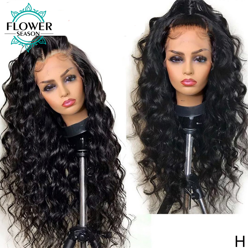 Wavy Human Hair Wig 180 Density Glueless 13*6 Lace Front Wigs Brazilian Remy Hair Pre Plucked Bleached Knots FlowerSeason