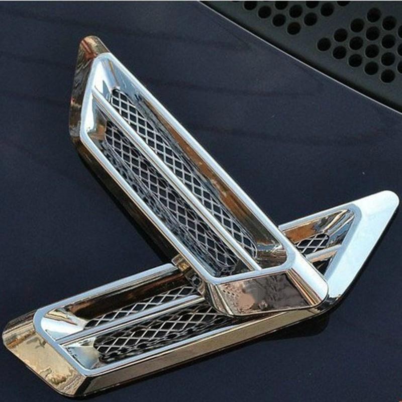 2pcs Plastic Chrome Car SUV Air Flow Fender Side Vent Decor Air Outlet Decoration Stickers Accessory