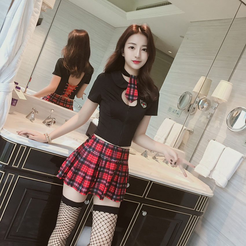Tops+plaid Skirt Clothing Set For Student Girls School Uniform Women Sexy High School Student Role-play Costumes Bandage Vest