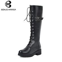 BONJOMARISA New Big Size 34-43 Ladies mid-calf Boots Women 2019 Elegant Cross Tied Boots Med Chunky Heels Shoes Woman недорого