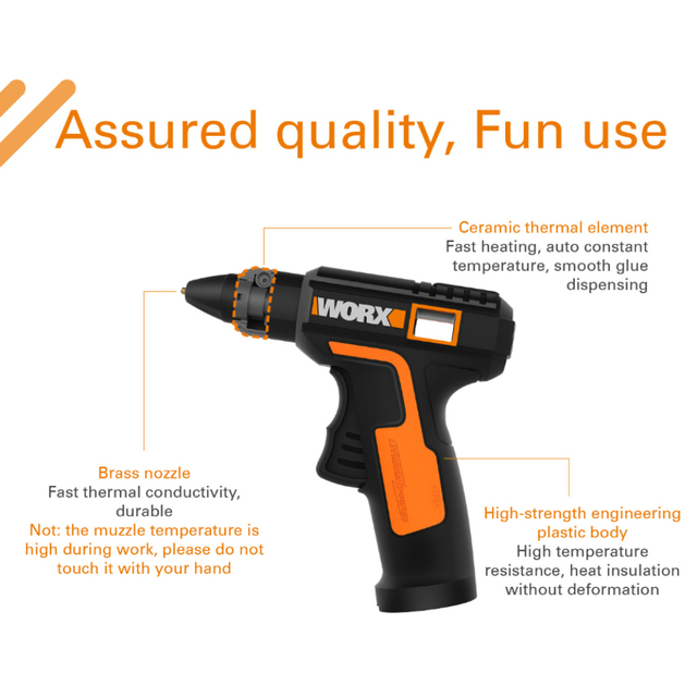 Worx 4V Melt Hot Glue Gun WX890 Electric glue gun Rechargeable Wireless Repair Tool Heat Mini Gun 7mm Glue Stick Household Tool 5